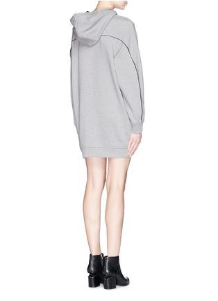 Back View - Click To Enlarge - T By Alexander Wang - Velvet drawstring hood sweatshirt dress