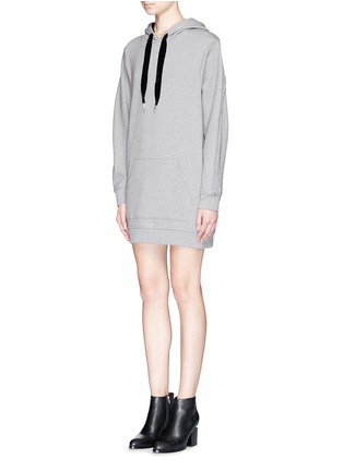 Front View - Click To Enlarge - T By Alexander Wang - Velvet drawstring hood sweatshirt dress