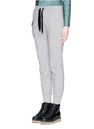 Front View - Click To Enlarge - T By Alexander Wang - Velvet drawstring fleece lined sweatpants