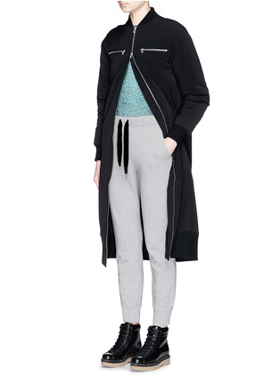 Figure View - Click To Enlarge - T By Alexander Wang - Velvet drawstring fleece lined sweatpants
