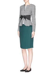 ARMANI COLLEZIONITie waist houndstooth knit box jacket
