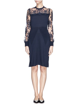 Main View - Click To Enlarge - ERDEM - 'Deni' floral lace panel knit dress