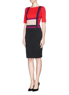 ST. JOHN Colourblock Milano knit dress