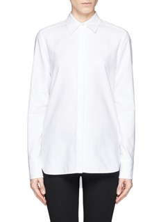 STELLA MCCARTNEY Mesh fringe panel textured cotton shirt