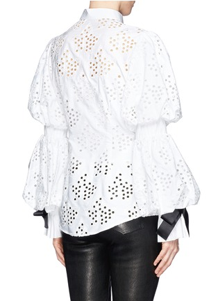 Back View - Click To Enlarge - Alexander McQueen - Broderie Anglaise puff sleeve blouse