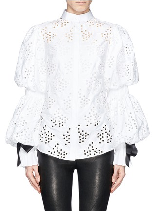 Main View - Click To Enlarge - Alexander McQueen - Broderie Anglaise puff sleeve blouse