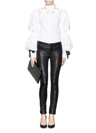 Figure View - Click To Enlarge - Alexander McQueen - Broderie Anglaise puff sleeve blouse