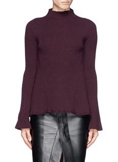 ALEXANDER MCQUEENRuffle hem wool-cashmere turtleneck sweater