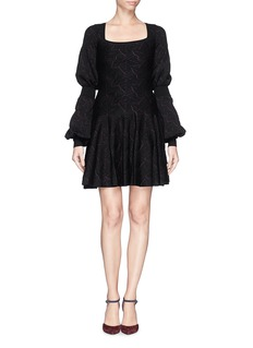 ALEXANDER MCQUEEN Leaf jacquard puff sleeve flare dress