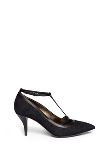 LANVIN Lizard embossed T-strap leather pumps
