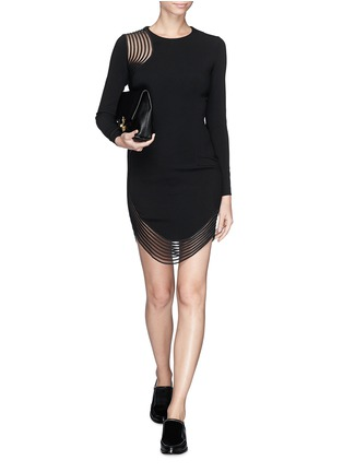 Detail View - Click To Enlarge - Stella McCartney - Rib wave mesh jersey crepe dress