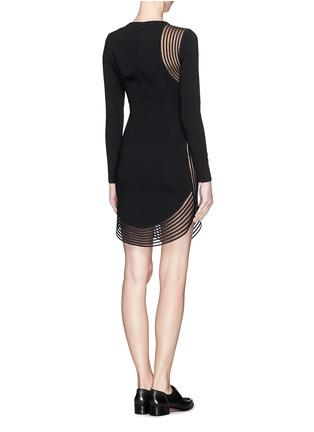 Back View - Click To Enlarge - Stella McCartney - Rib wave mesh jersey crepe dress