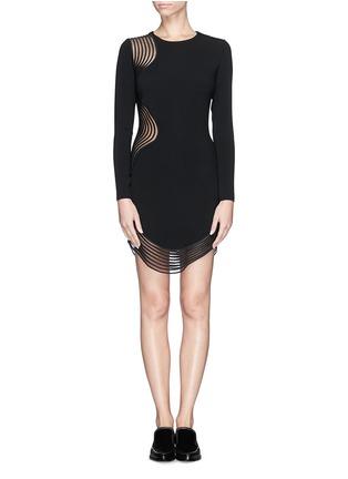 Main View - Click To Enlarge - Stella McCartney - Rib wave mesh jersey crepe dress