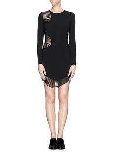 STELLA MCCARTNEYRib wave mesh jersey crepe dress
