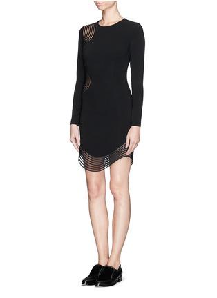 Figure View - Click To Enlarge - Stella McCartney - Rib wave mesh jersey crepe dress