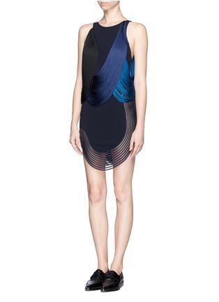 Front View - Click To Enlarge - Stella McCartney - Rib wave fringe dress