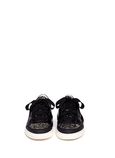 LANVIN Jacquard panel leather sneakers