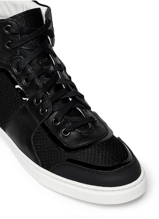 Detail View - Click To Enlarge - Lanvin - Leather and mesh high-top sneakers