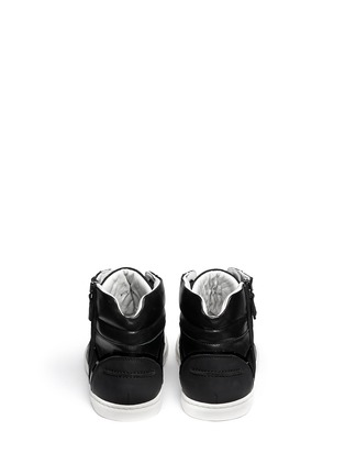 Back View - Click To Enlarge - Lanvin - Leather and mesh high-top sneakers