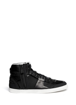 Main View - Click To Enlarge - Lanvin - Leather and mesh high-top sneakers