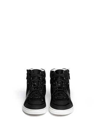 Figure View - Click To Enlarge - Lanvin - Leather and mesh high-top sneakers