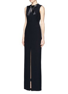 ALEXANDER MCQUEENJewelled eyelet bow neck gown