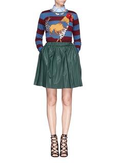 STELLA JEAN'Camelia' beaded rooster intarsia stripe wool sweater