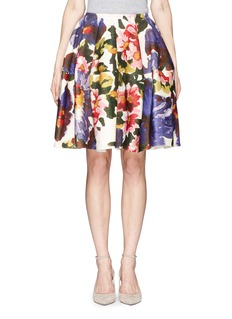MS MINFloral print wool-cashmere skirt