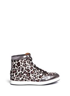 JIMMY CHOO'Tokyo' leopard print pony hair high-top sneakers