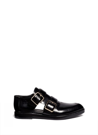 Main View - Click To Enlarge - Alexander Wang  - Jacquetta cutout monk-strap leather shoes