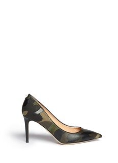 VALENTINO Camouflage canvas leather patch pumps