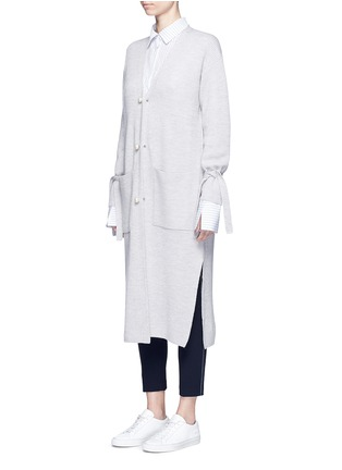 Front View - Click To Enlarge - Comme Moi - Tie sleeve faux pearl button long cardigan