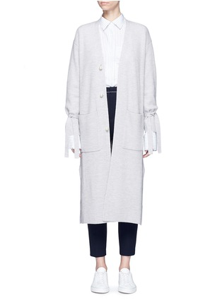 Main View - Click To Enlarge - Comme Moi - Tie sleeve faux pearl button long cardigan