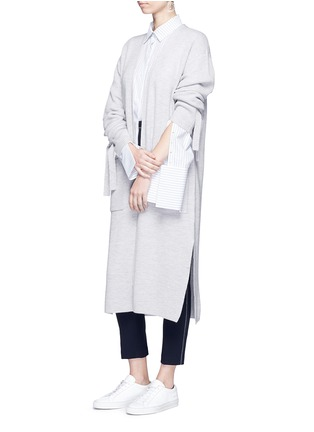 Figure View - Click To Enlarge - Comme Moi - Tie sleeve faux pearl button long cardigan