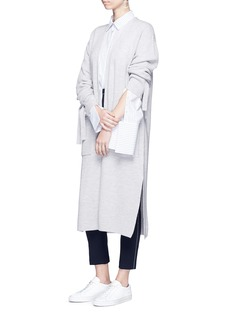 Comme MoiTie sleeve faux pearl button long cardigan