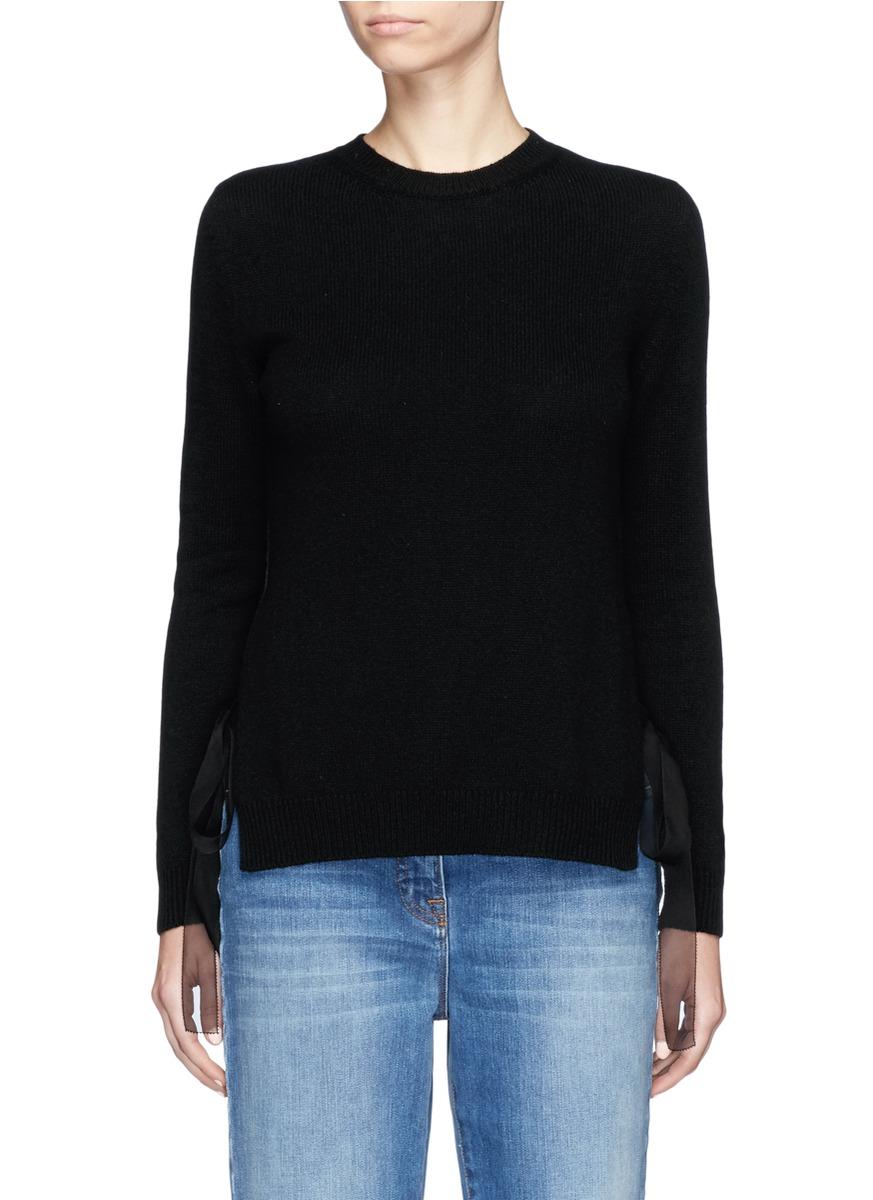 Silk organza ribbon cashmere sweater by Valentino