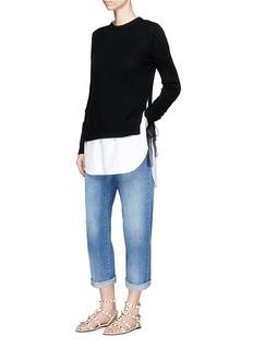 ValentinoSilk organza ribbon cashmere sweater