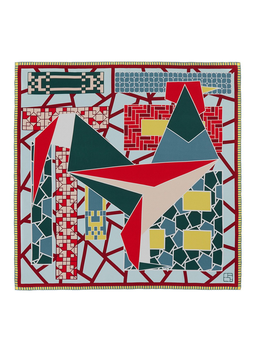 Geometric rooster print silk scarf by SHANG XIA
