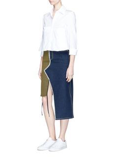 JinnnnAsymmetric denim and waffle textured skirt