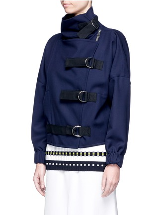 Front View - Click To Enlarge - Victoria Beckham - Belted wool twill jacket