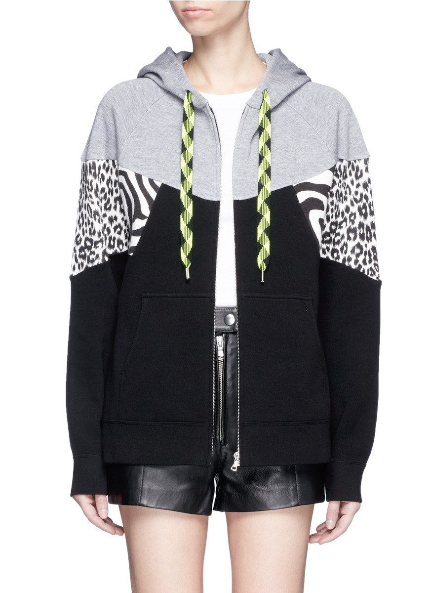 marc jacobs female zebra leopard print patchwork zip hoodie