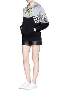 Marc JacobsZebra leopard print patchwork zip hoodie