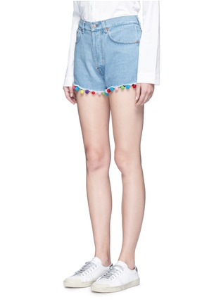 Front View - Click To Enlarge - Forte Couture - Pompom denim shorts