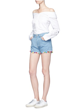 Figure View - Click To Enlarge - Forte Couture - Pompom denim shorts
