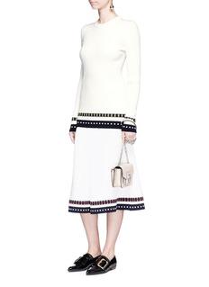 Victoria BeckhamStripe rib knit hem satin skirt
