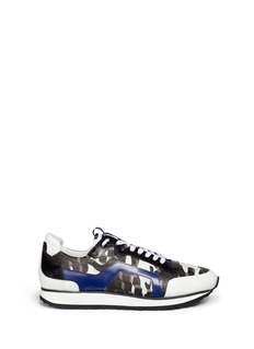 Pierre Hardy 'Perspective Cube' print leather trim saffiano sneakers