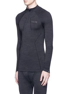 Falke Sports'Wool-Tech' mock neck performance long sleeve T-shirt