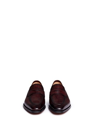 Front View - Click To Enlarge - Magnanni - Burnished leather penny loafers