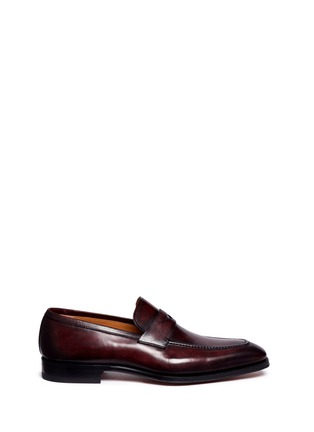 Main View - Click To Enlarge - Magnanni - Burnished leather penny loafers