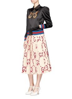 Gucci Owl embellished duchesse satin bomber jacket